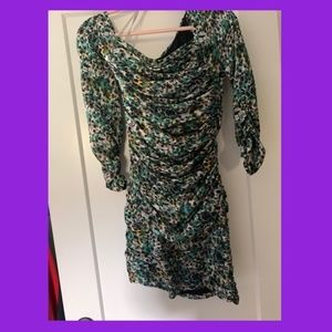 DIANE  von FURSTENBERG MULTI GREEN SILK MINI DRESS